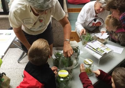 Multiple generations of learners looking in jars.
