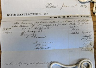 Bates Manufacturing Co. Cotton Invoice