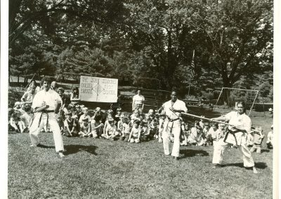Black and white photograph of a karate demonstration.