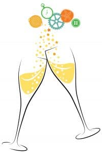 Champagne glasses and MSM logo